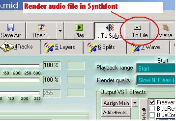Render audio in Synthfont